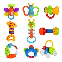 Baby Toys Rattles Teether and Shakers 9 PCS, Baby Newborn Gi