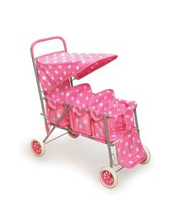 triple doll stroller polka dots