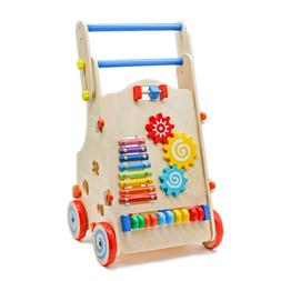 US Adjustable Wooden Baby Walker Toddler Toys with Multiple