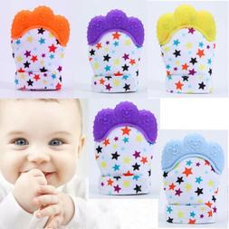 US Baby Teether Silicone Mitts Teething Mitten Glove Candy W
