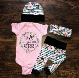 US Newborn Infant Baby Girl Floral Outfit Clothes Romper Top