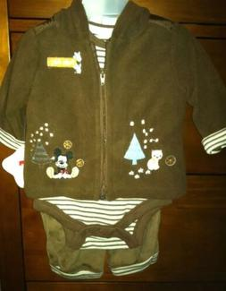 Walt Disney World Mickey Mouse 3 Pc Baby Outfit, 0/3 Months