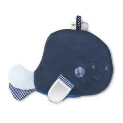 Whale Smiling Navy Blue 11 x 7 Cotton Blend Fabric Bathtub A
