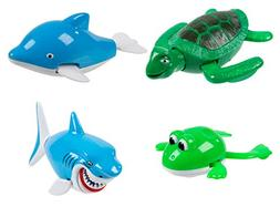 Juvale Wind Up Bath Toys - 4-Pack Assorted Water Animal Toys