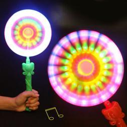 Windmills Flashing Light Up LED And Music Rainbow Spinning W