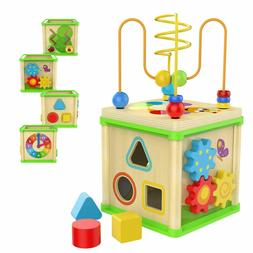TOP BRIGHT Wooden Activity Cube Shape Shorter Bead Maze Educ