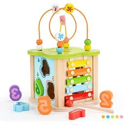 Wooden Activity Cube Toys with Kids Xylophone Bead Maze, Gar