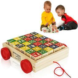 Wooden Alphabet Blocks, Best Wagon ABC Wooden Block Letters