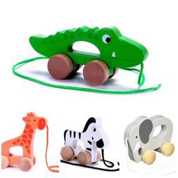Wooden Animal Push & Pull Along Developmental Toy for Baby T