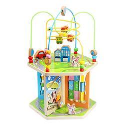 KAJA Wooden Bead Maze Baby Activity Play Cube 7 in 1 Activit