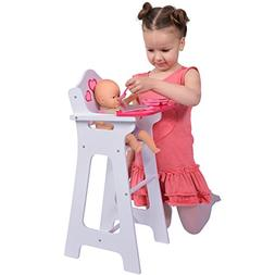 Wooden Doll High Chair with Doll Bib Fits 18""