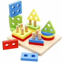 wooden educational puzzle toy shape color recognition