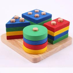 Wooden Educational Shape Color Recognition Geometric Board T