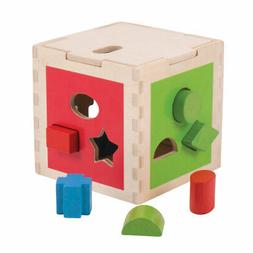 wooden educational shape sorting cube activity centre