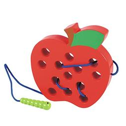 Lewo Wooden Lacing Big Apple Toy Threading Montessori Learni