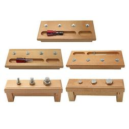 Wooden Montessori Teaching Toys Kids Screw Bolts and Nuts To
