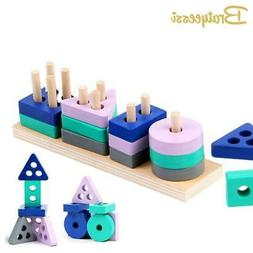 Wooden Montessori Toy Building Blocks Early Learning Educati