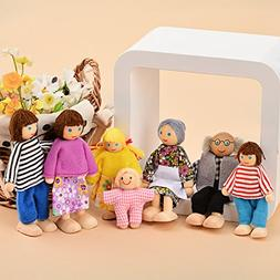 Wooden Poseable Happy Doll Family of 7 People for Dollhouse