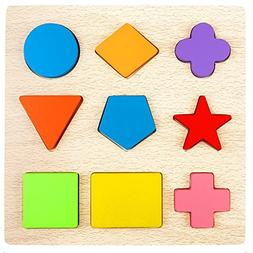 Lewo Wooden Preschool Shape Puzzles Geometric Sorting Games