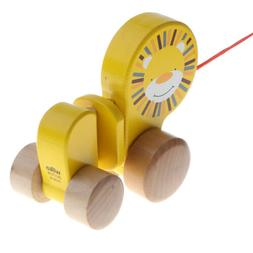 Wooden Pull Toy Push and Pull Lion Pull Along Walking Toy fo