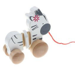 Wooden Pull Zebra Push Pull Toy for Baby Toddler Easy Push a