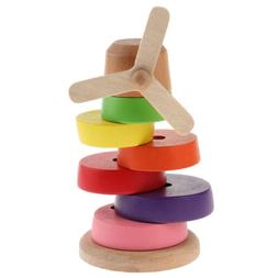 Wooden Rainbow Ring Stacker Toy Stacking Tower Games Educati