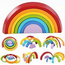 king do way Wooden Rainbow Stacker Toys 7Pcs Nesting Stackin