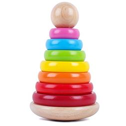 Wooden Rainbow Ring Stacker Toy Stacking Ring Tower Games Ea