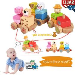 Wooden Rocking Farm Animals Pull Train Toy Rock Baby Toys Gi