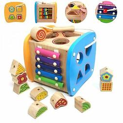 Lewo Wooden Shapes Sorter Activity Centers Lacing Beads Earl