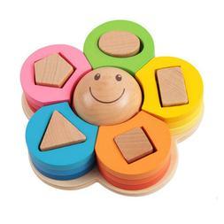 Wooden Smile Flower Shape Color Recognition Block Toy Sortin