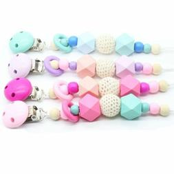 Wooden Soother Silicone Holder For Baby Chew Pacifier Clip T
