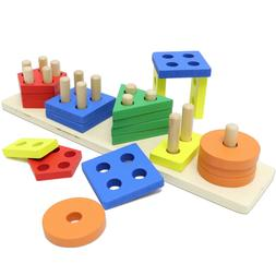 Wooden Toddler Toys for Boys & Girls Age 2 Years and Up, Edu