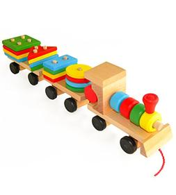 Wooden Toys Stacking Train Blocks, Pull Toy Promotes Baby De