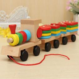 Wooden Train Building Blocks Kids Educational Toys Baby Wood