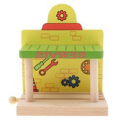 Wooden Train Track Railway Accessories DIY Building Toy Set