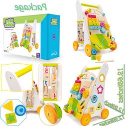COSSY Wooden Baby Walker Toddler Toys for 18 Month, Push and