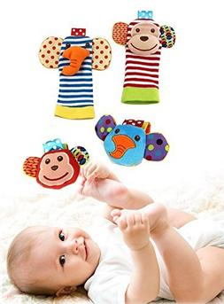Happy Monkey Baby Wrist Rattles and Foot Finders Set include