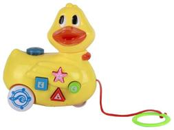Yellow Duck Musical Pull Toy. Pull Along Duckling Toy on Whe